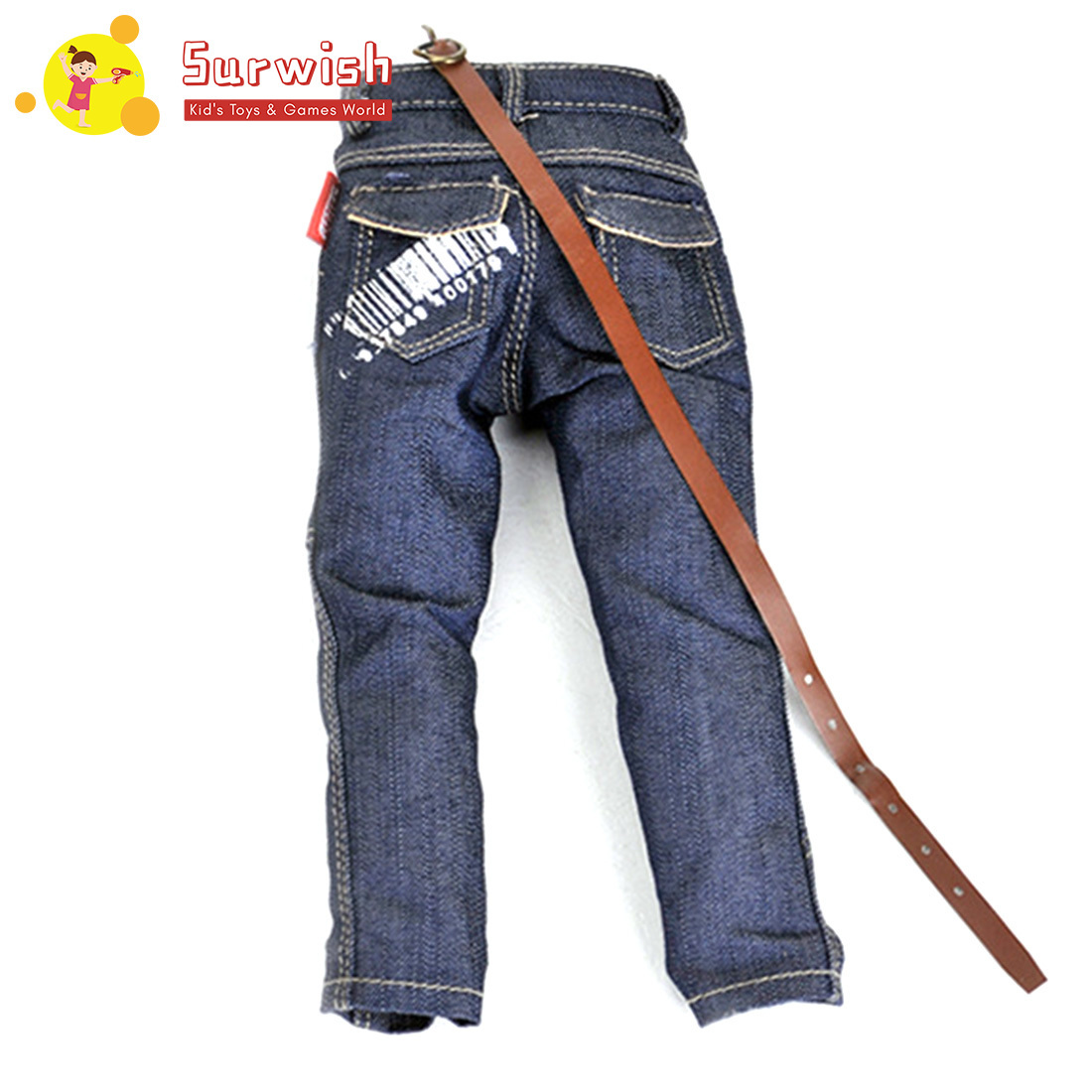 1:6 Scale Mini Fashionable Jeans Pants For Action Figure - Bar Code Printing Version