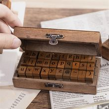 Stamps Lowercase Alphabet Gifts Stationery Scrapbooking Letter Wooden Retro Kawaii
