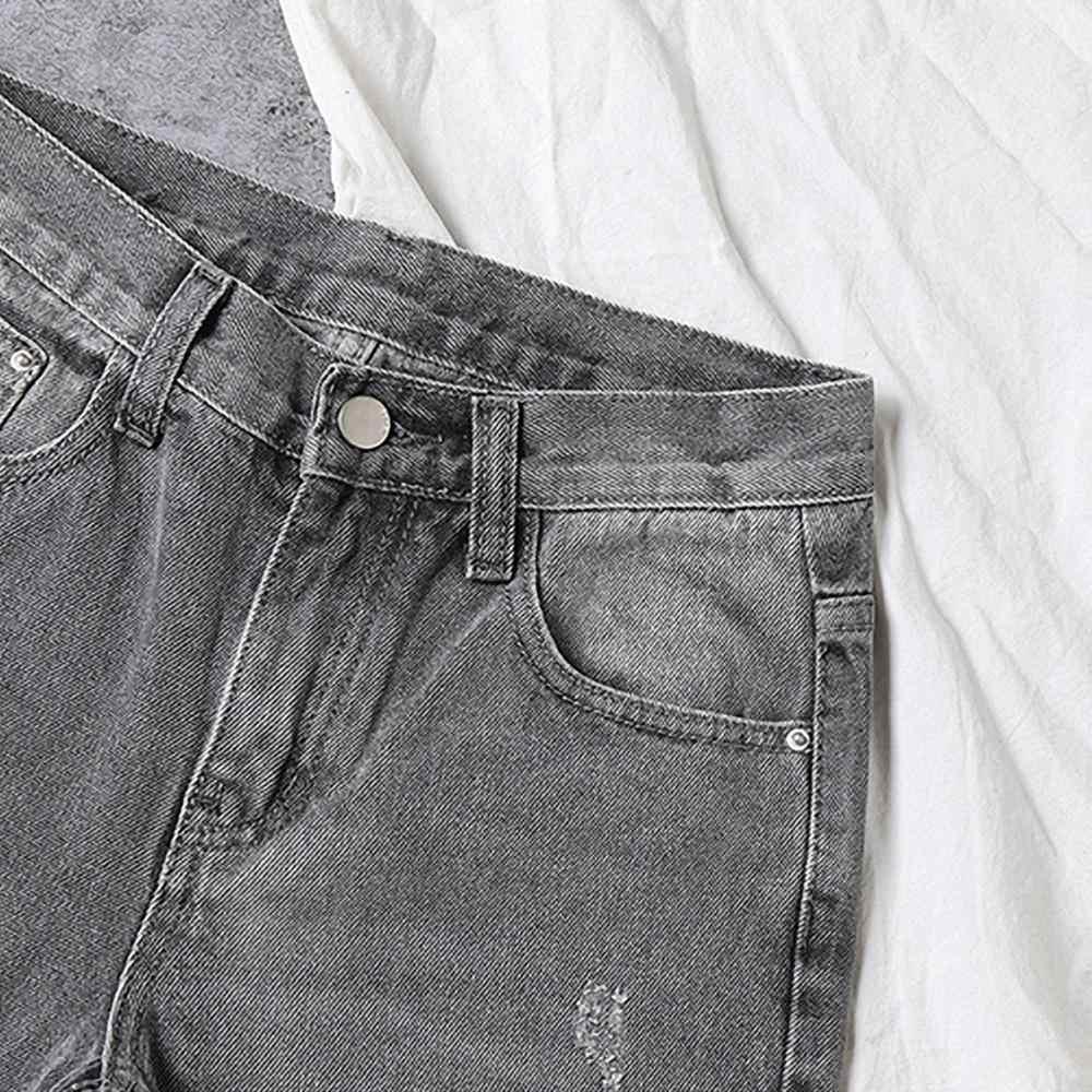 Pantalones De Vaquero Elastico Alto Para Mujer Pantalones Vaqueros Rectos Y Cortos De Cintura Alta Para