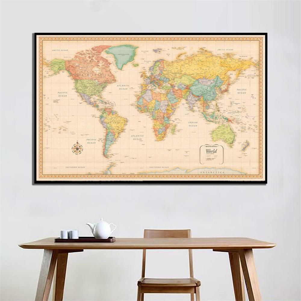 150x100cm World Map Classic Edition Non-woven Vinyl Spray Map Without National Flag