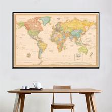 150x100cm World Map Classic Edition Non-woven Vinyl Spray Without National Flag