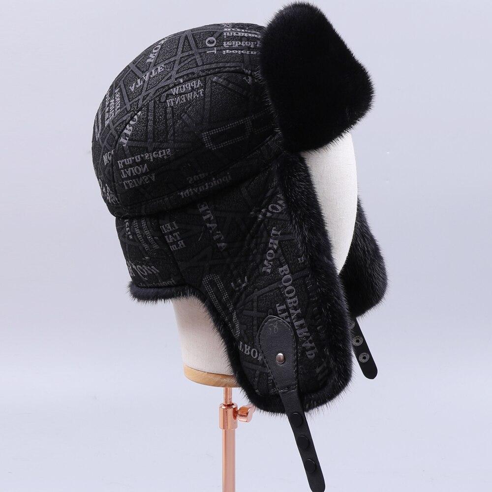 Fur Hat Mink-Fur Bomber Ushanka Russian Winter Women for Natural Thick Warm Ears Fashion