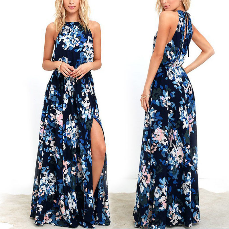 Womens Sleeveless Halter Floral Print Long Dress Summer Beach Chiffo Dress KNG88