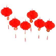 6 шт. год китайский бумажный фонарик фестиваль красный фонарь кулон рождественские украшения для дома украшения фонарь s
