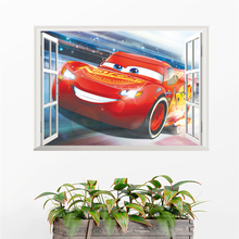 3d effect cartoon mcqueen 50*70cm window wall stickers kids rooms home decor disney cars decals pvc mural art diy posters