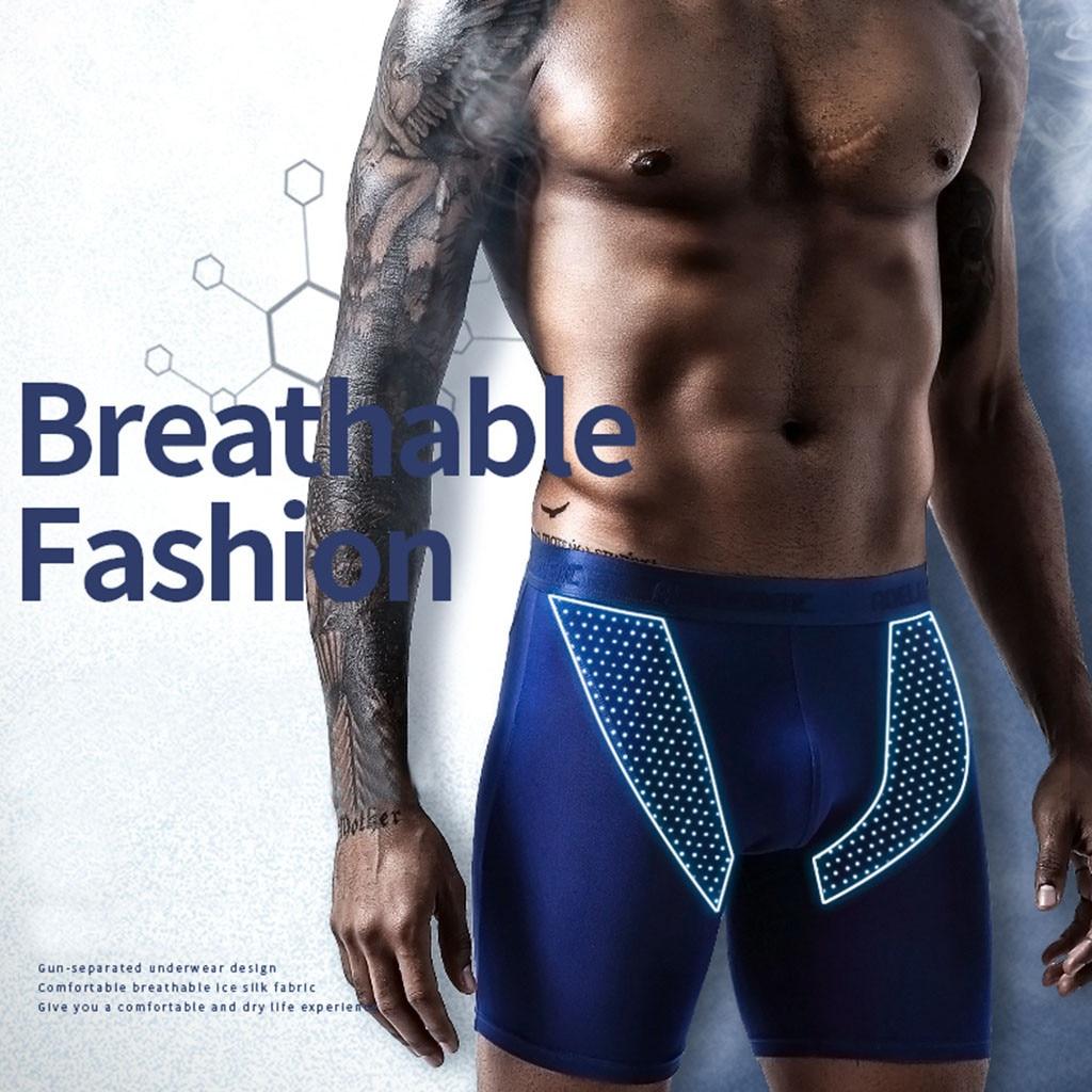 Men's Sexy Elastic Slim Breathable Sports Underwear Quick Drying Long Flat Pants Nylon Fashion Design Thickness Standard XJ
