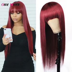 Wig With Bangs 99J Burgundy Colored Human Hair Wigs Brazilian Straight Full Machine Made Wig For Black Women Remy Glueless Wig