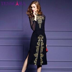 Image 3 - Женское осеннее роскошное платье TESSCARA с вышивкой, женское элегантное черное ретро платье, женское дизайнерское Сетчатое платье высокого качества