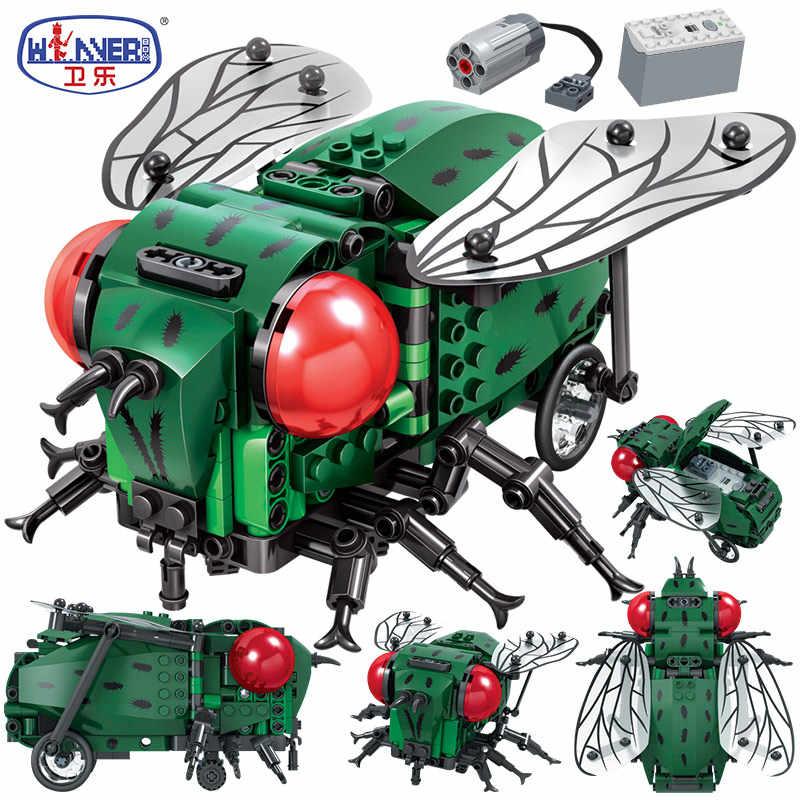Creator symulowane owady DIY elektryczne klocki budowlane miasto Legoingly Technic MOC Model cegły budowlane zabawki dla dzieci prezenty