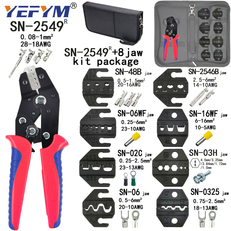 Electrician mini crimping pliers set for 2.8/4.8/6.3/VH3.96/tube/lnsulation/terminals, hand tool crimping pliers SN-48BS=48B+28B 4
