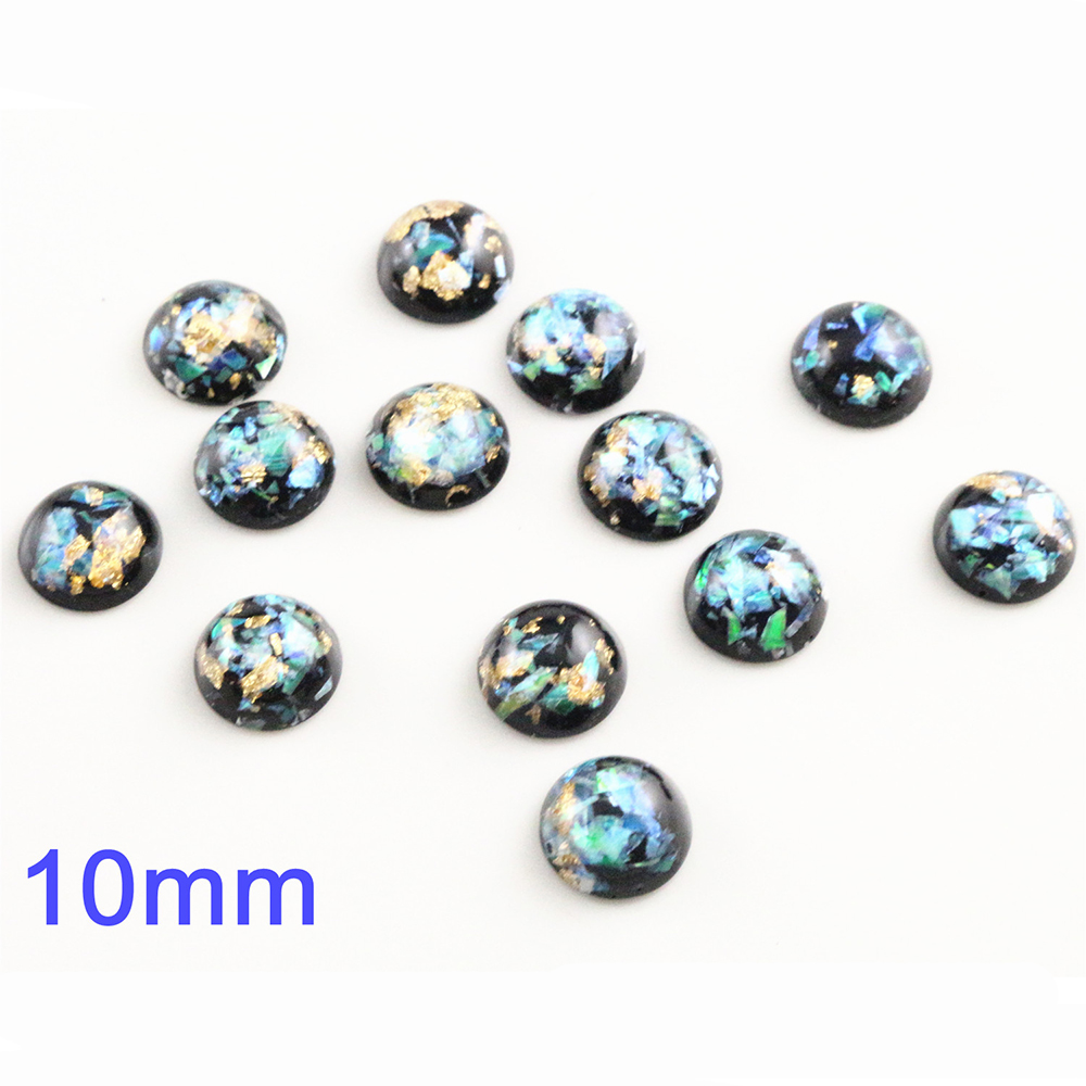 New Fashion 10mm 40pcs/Lot Black Color Built-in Metal Foil Flat Back Resin Cabochons Cameo V7-20