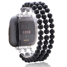 Fashion Hematite Watch Strap For Fitbit Versa/Versa 2/Versa Lite Smart Watch Elastic Handmade Watchband For Unisex Wristband vice versa