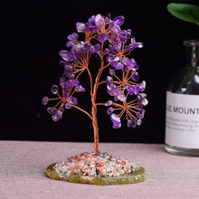 1pc Natural Amethyst Rose Quartz Tree of Life Rock Mineral Specimen Reiki Healing Home Decoration DIY gifts Souvenir