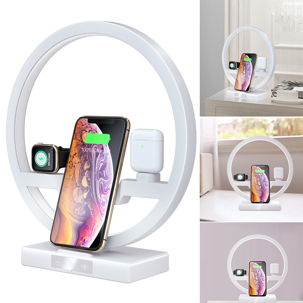 New Multifunction LED light 3 In 1 Table Desk Lamp Fast <font><b>QI</b></font> Wireless Charger Desk Lamp for Apple <font><b>Watch</b></font> Airpods iPhone image