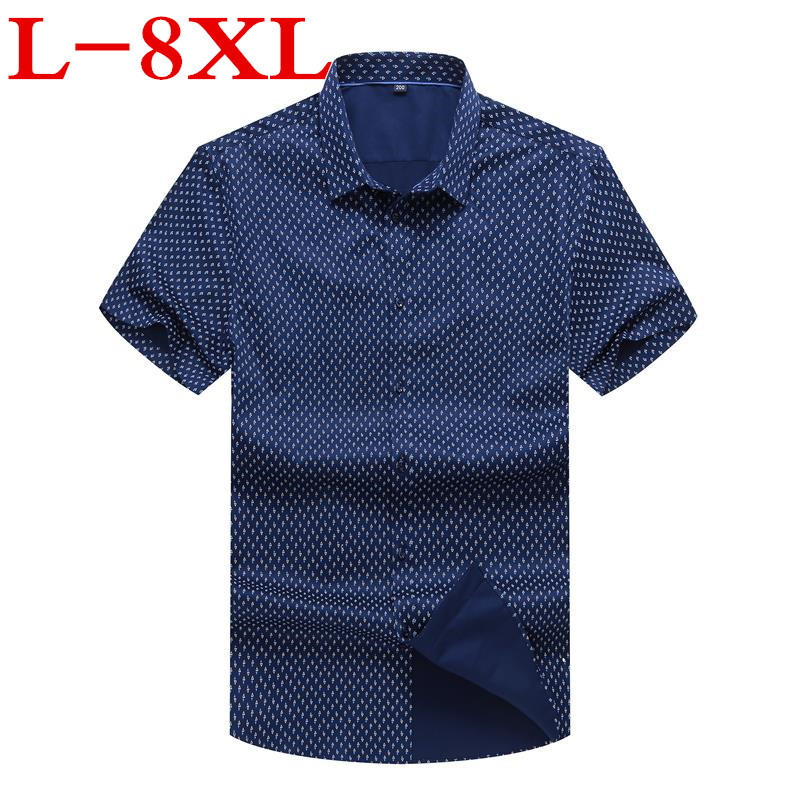 Plus Size 9xl 10xl  Men Fashion Loose Fit Casual Shirts Short Sleeve 100% Cotton Dress Shirts Patchwork Trendy Style Male Shirts