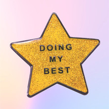 Doing My Best Positive Thoughts Sparkle Gold Star Enamel Brooch Pins Badge Lapel Pins Brooches Alloy Metal Fashion Jewelry