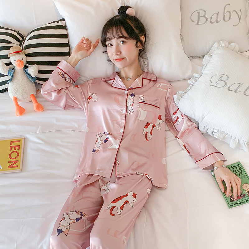 Pajamas Women's Spring And Autumn Viscose Thin Students Cute Kitten Silk Long Sleeve Two-Piece Set Outer Wear Tracksuit
