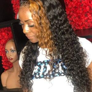 Destacado 13x6 Peluca de encaje Frontal de cabello humano rizado profundo 27 # color 360 peluca Frontal de encaje pelucas Dolago brasileñas de densidad 180