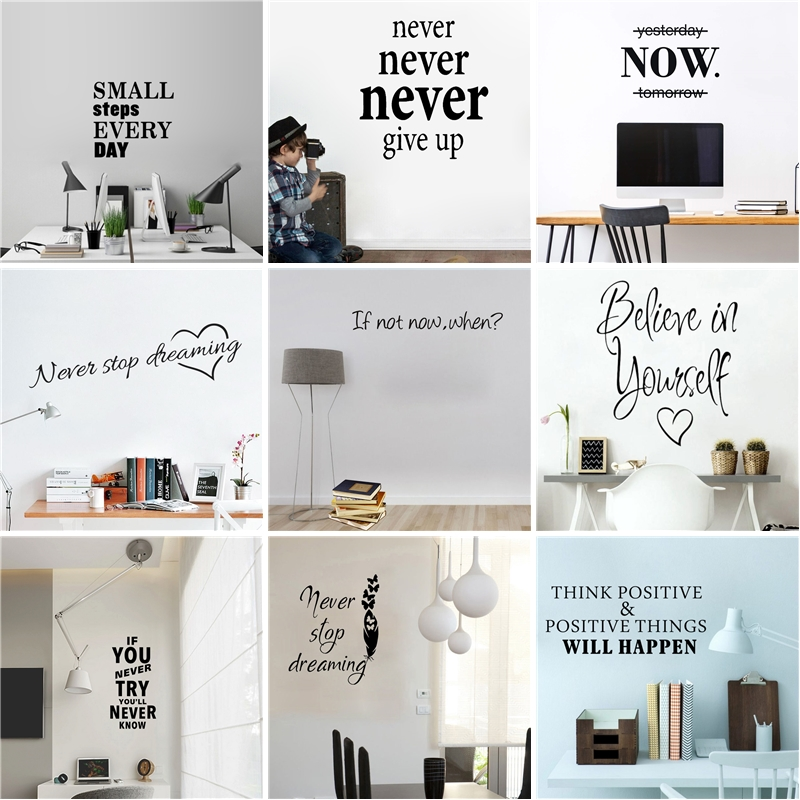 Motivational Quotes Sentences Phrases Wall Stickers Decals For Company Office School Living Room Removable Wallpaper Decorations image