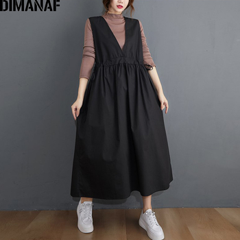 DIMANAF Plus Size Women Dress Sleeveless V-Neck Female Lady Vestidos Casual Loose A-Line Pleated Solid Black Dress With Sashes plus size women half sleeve ruffles casual summer dress sexy o neck a line loose mini everyday dress sundress vestidos feminino