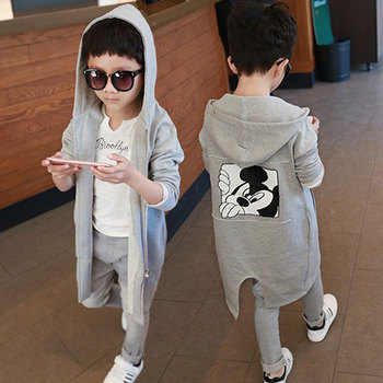 Boys windbreaker jacket mid-length 2020 new fashion children's coat baby autumn and winter clothing girls outerwear
