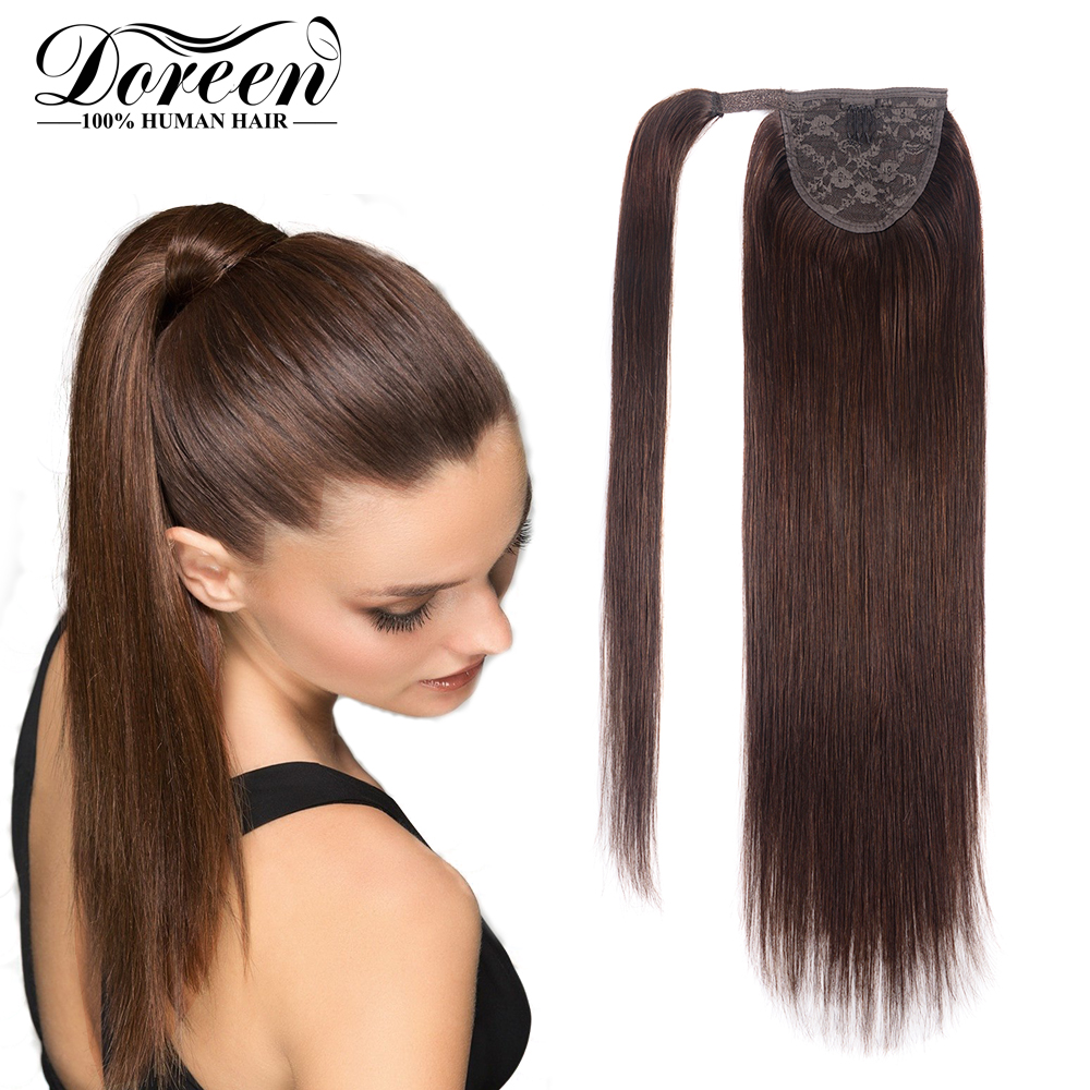Dorren Ponytail Clip In Hair Extensions Machine Made Remy Straight Human Hair Pieces Chocolate Brown 100 Grams 16