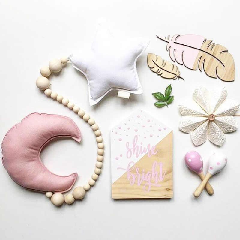 Bébé brillant bébé décoration oreiller nordique lune étoiles perles en bois cordes jouets enfants lit chambre berceau tente décor ornements cadeau