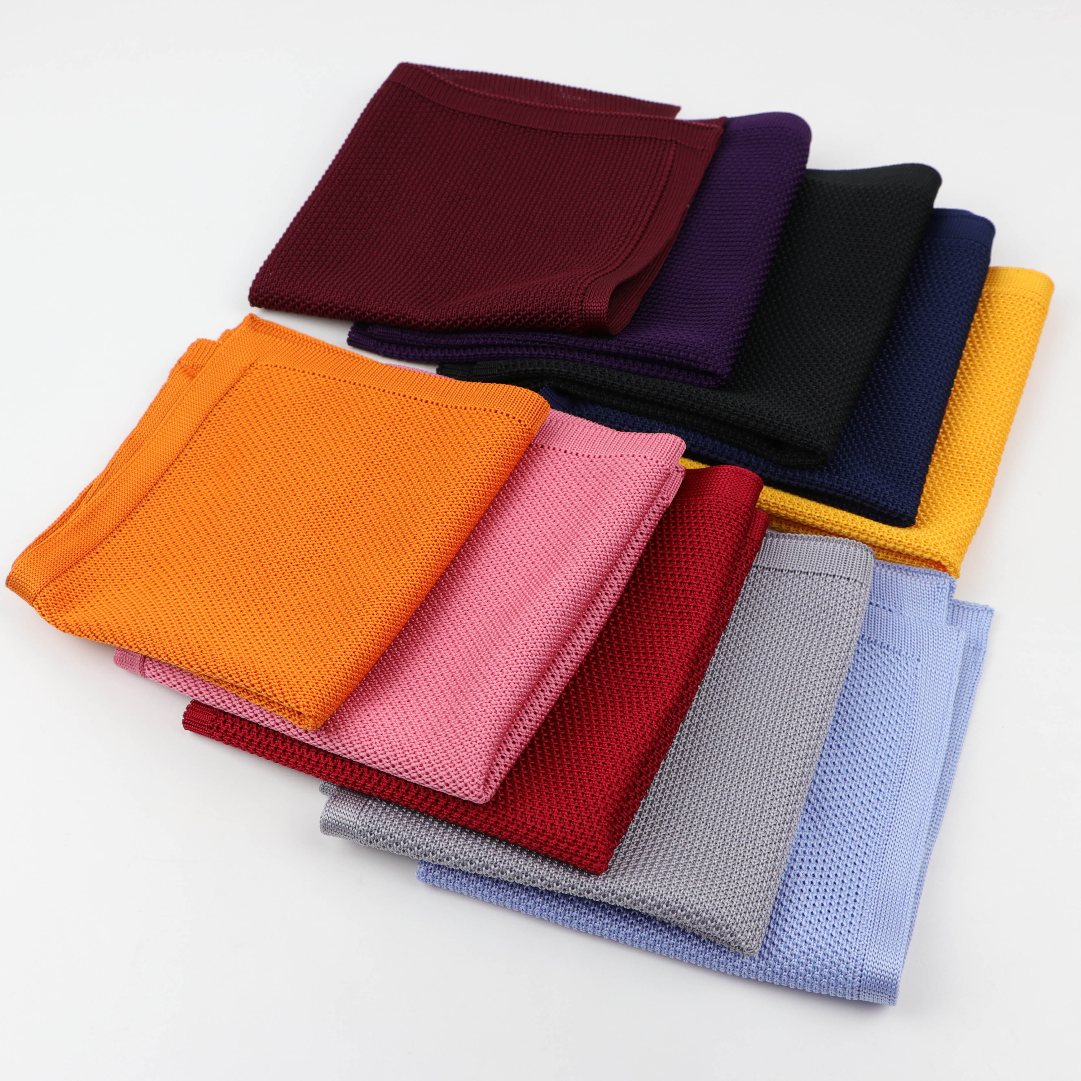 High Quantity Solid Color Knitted Hankerchief Scarves Soft Fabric Woven Hankies Men's Pocket Square Knit Handkerchiefs