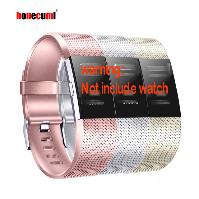 Honecumi Wrist Band For Fitbit Charge 2 TPU Watchband Accessory Wrist Strap For Fitbit Charge 2 Rose Gold/Silver Bracelet
