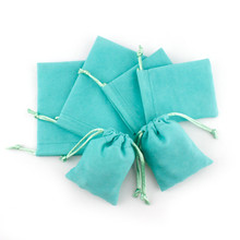 Lake Blue Packaging Mini Jewelry Pouches Velvet Drawstring Gifts Bags for Christmas Party Wedding Favors