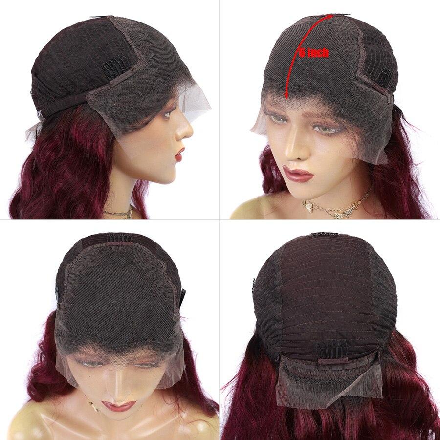 13*6 объемная волна 1b/99J цветные кружевные передние человеческие волосы парики для женщин Омбре Бургундский кружевной передний парик предвар... - 3