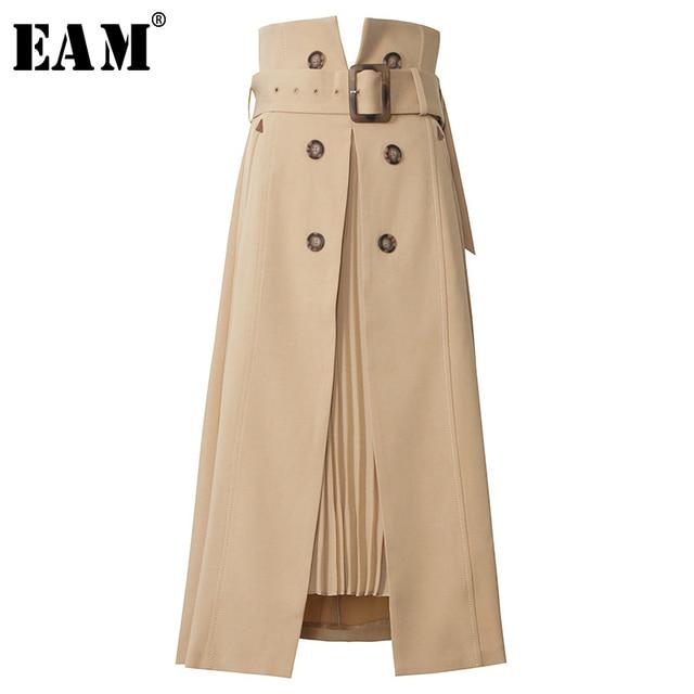 [EAM] High Waist Brown Bandage Asymmetrical Pleated Temperament Half-body Skirt Women Fashion Tide New Spring Autumn 2021 1S464 1