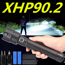 800000LM XHP90.2 Powerful LED Flashlight USB rechargeable Tactical Torch 3 mode XHP70.2 Zoom 26650 Battey light with Power bank