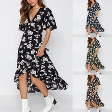 最高の販売レディースセクシーなドレスハーフスリーブvネック不規則なプリントシフォンドレス女性ドレスボヘミアンドレスかわいいビーチドレス