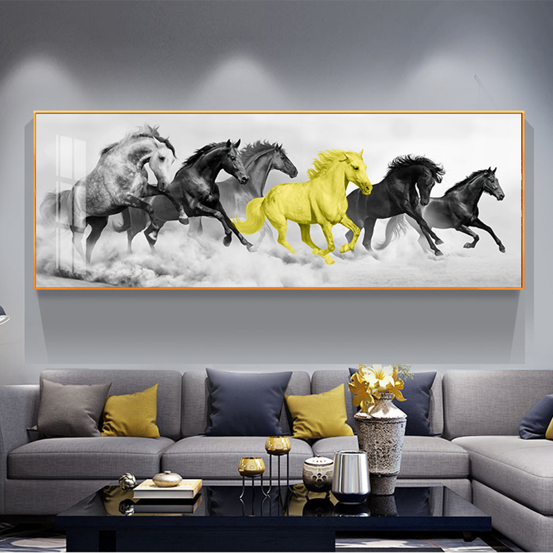 Wangart Larger Size Canvas Print Gold Black Run Horse  Animal Decoration Abstract Wall Picture For Living Room Canvas no frame