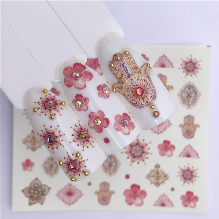 Manicure Watermarking Adhesive Paper Flower Stickers Japan Hot Selling Strawberry Small Bee Smudge Semi-Permeable Dreamy DIY Pho