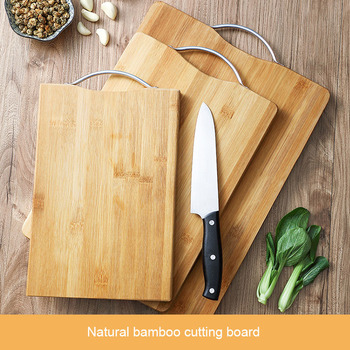 Natural Bamboo Cutting Board Thick Hangable Chopping Board Vegetable Fruits Meats Bread Wood Cutting Blocks Kitchen Accessories