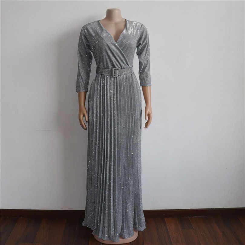 Afrikanische kleider für frauen Neue heißer verkauf beliebte Bunte bronzing Frauen party lange kleid v-ausschnitt jüngere mädchen lange kleid