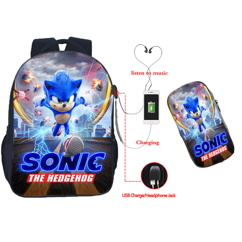 New Cool Sonic USB Charge Backpack 2pcs Set Boys Girls Teens Bookbags Child Primary School Bags Students Gifts(Rucksack Pen Bag)