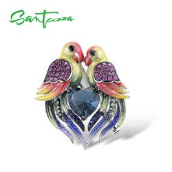 SANTUZZA Silver Brooch for Women Authentic 925 Sterling Silver Colorful Birds Love Heart Animal Fine Jewelry Handmade Enamel