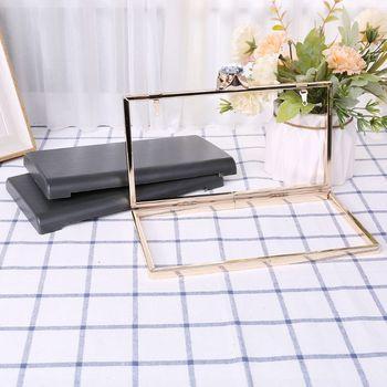 Fashion WoMan Purse Frame With Black Plastic Box Handbag DIY Evening Bag Wedding Party Prom Metal Clutch цена 2017