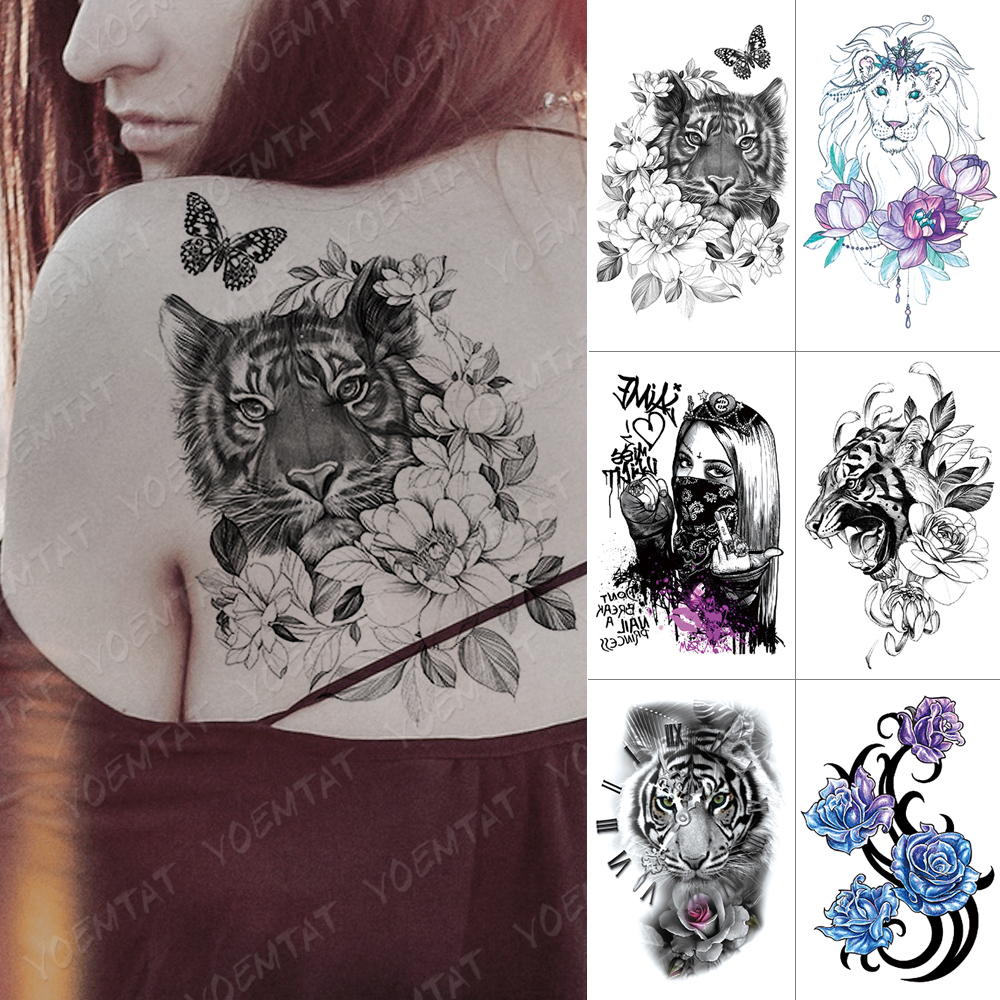 Waterproof Temporary Tattoo Sticker Tiger Flowers Butterfly Flash Tattoos Lion Cool Girl Crown Body Art Arm Fake Tatoo Women Men