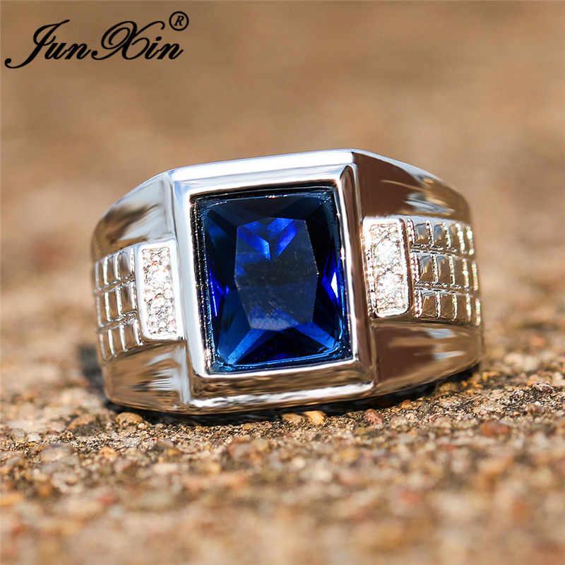 Mens Square หินสีฟ้าขนาดใหญ่เรขาคณิตแหวนผู้ชายผู้หญิงเงิน 925 สี Vintage หมั้นแหวนเครื่องประดับหญิง CZ