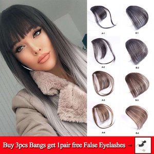 Clip In Blunt Bangs Thin Fake Fringes Natural Straigth Synthetic Neat Hair Bang Accessories For Girls Invisible Natural 4 Colors