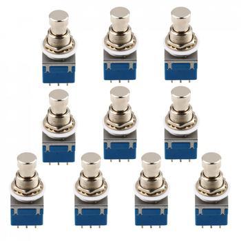 10 Uds Metal 9-pin 3PDT caja de pedales de efectos de guitarra pedal de Metal interruptor Bypass verdadero para guitarra eléctrica bajo