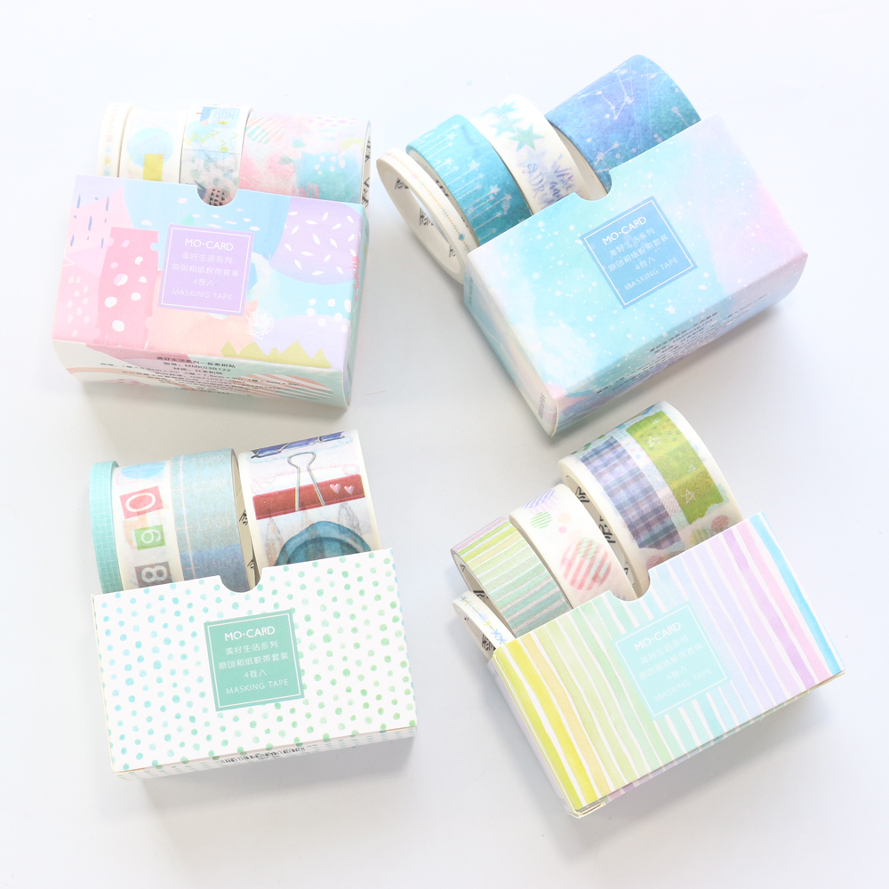 Domikee Candy Kawaii Student Decoration Masking Tape Set For Planner Notebooks Stationery,cute Washi Tape For Kids,3size 4pcs