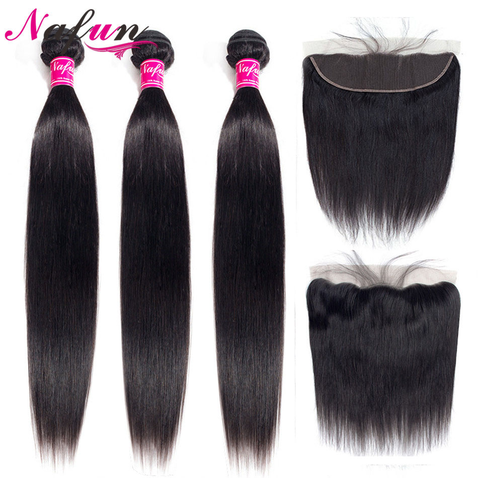 Nafun Malaysian Straight Hair Bundles With Closure Human Hair Bundles With Frontal Non-Remy Lace Frontal Closure Middle Ratio