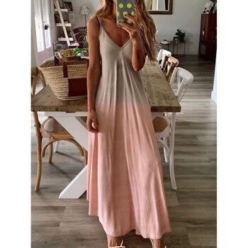 Elegant Gradient Print Evening Party Dress Women 2019 Sexy V-Neck Half Sleeve Formal Vestidos Floor-Length Slim Party Dresses