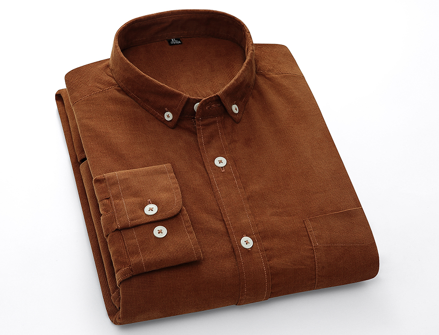 H56ffb30864ec49cd98655c04c27065d30 Casual Mens Corduroy Shirt Pure Cotton Long Sleeve Brown Thick Winter XXL Regular Fit New Model Male Button Down Shirts