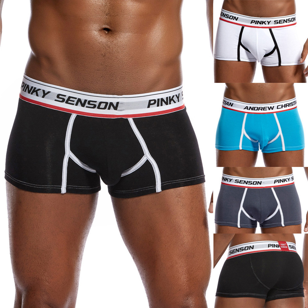 Men Trunks Underwear Letter Boxer Briefs Shorts Bulge Pouch Underpants